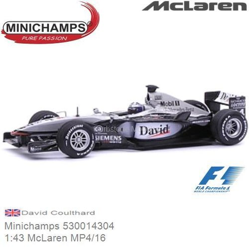 Modellauto 1:43 McLaren MP4/16 | David Coulthard (Minichamps 530014304)