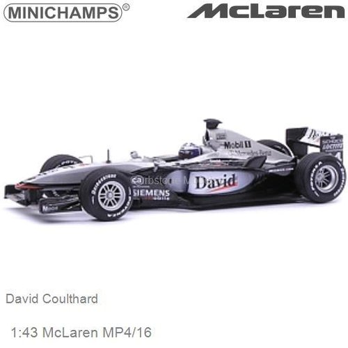 Modelauto 1:43 McLaren MP4/16 | David Coulthard (Minichamps 530014304)