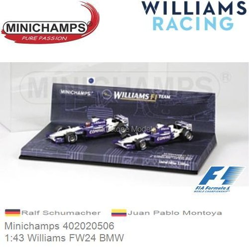 Modellauto 1:43 Williams FW24 BMW | Ralf Schumacher (Minichamps 402020506)