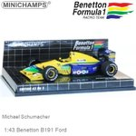 Modelauto 1:43 Benetton B191 Ford | Michael Schumacher (Minichamps 400910119)