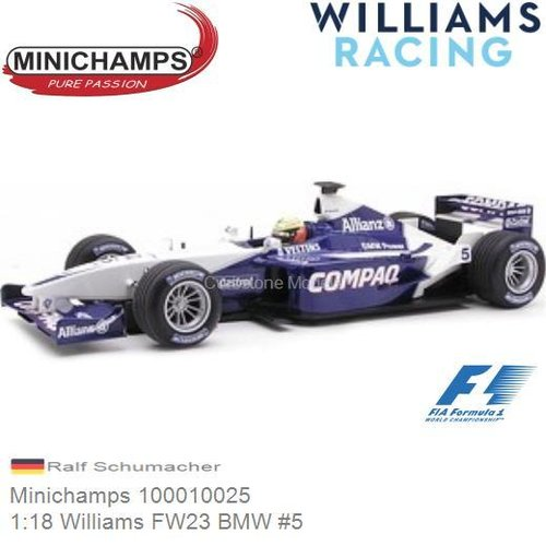 Modelauto 1:18 Williams FW23 BMW #5 | Ralf Schumacher (Minichamps 100010025)