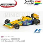 Modelauto 1:43 Benetton B191B Ford #20 | Mark Brundle (Minichamps 400920120)