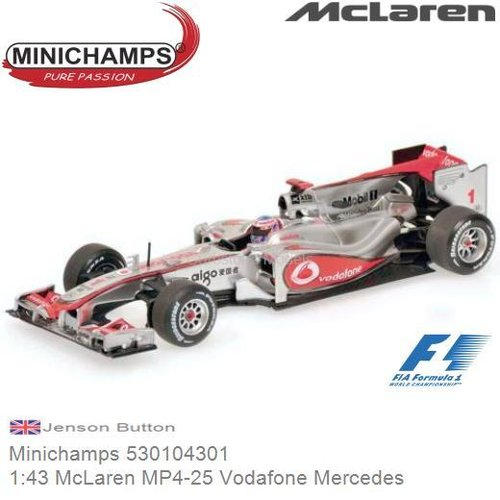 Modelauto 1:43 McLaren MP4-25 Vodafone Mercedes | Jenson Button (Minichamps 530104301)