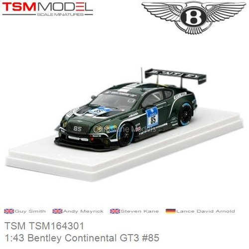 Modelauto 1:43 Bentley Continental GT3 #85 | Guy Smith (TSM TSM164301)