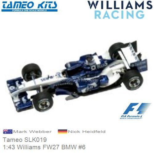 Bouwpakket 1:43 Williams FW27 BMW #6 | Mark Webber (Tameo SLK019)
