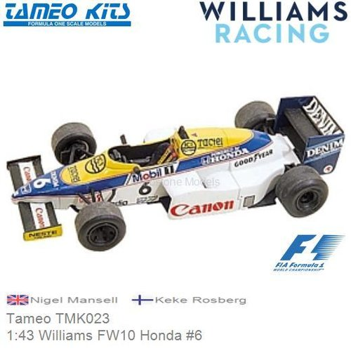 Kit 1:43 Williams FW10 Honda #6 | Nigel Mansell (Tameo TMK023)