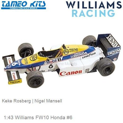 1:43 Williams FW10 Honda #6 | Keke Rosberg (TMK023)