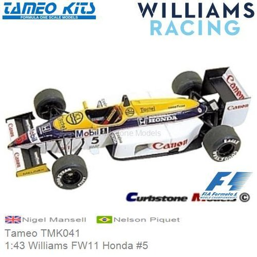Kit 1:43 Williams FW11 Honda #5 | Nigel Mansell (Tameo TMK041)