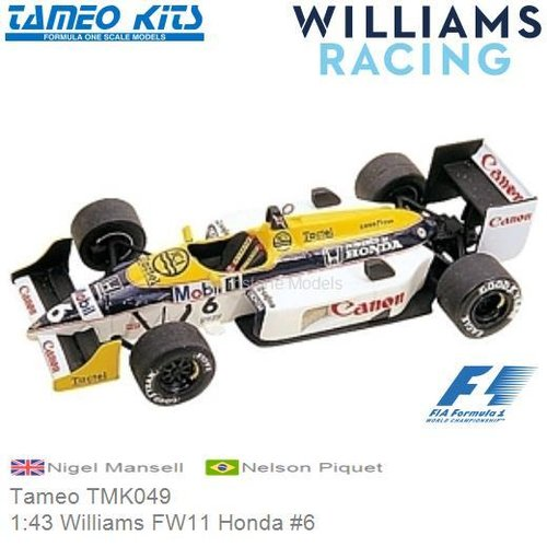 Kit 1:43 Williams FW11 Honda #6 | Nigel Mansell (Tameo TMK049)