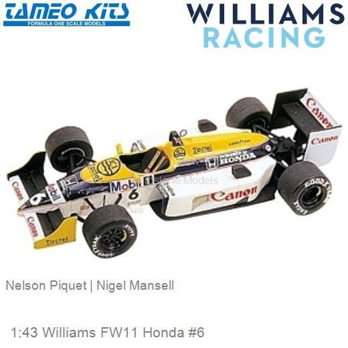 1:43 Williams FW11 Honda #6 | Nelson Piquet (TMK049)