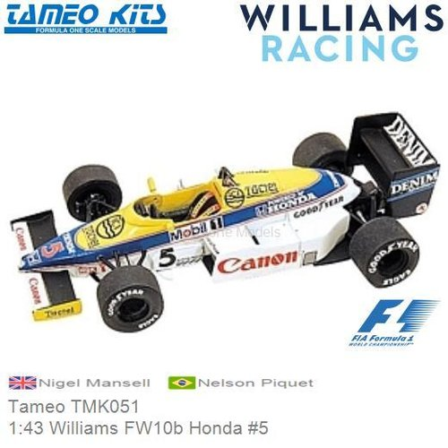 Kit 1:43 Williams FW10b Honda #5 | Nigel Mansell (Tameo TMK051)