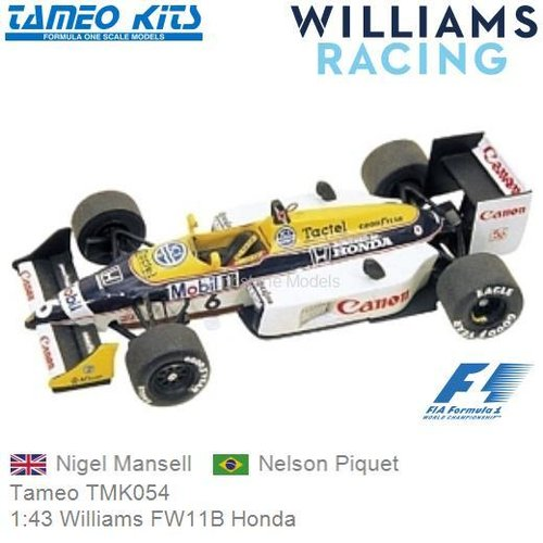 Kit 1:43 Williams FW11B Honda | Nigel Mansell (Tameo TMK054)