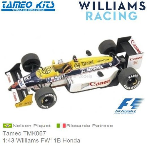 Kit 1:43 Williams FW11B Honda | Nelson Piquet (Tameo TMK067)