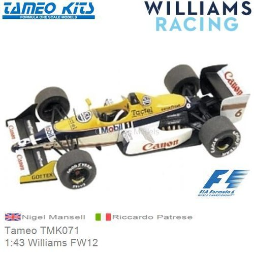 Kit 1:43 Williams FW12 | Nigel Mansell (Tameo TMK071)