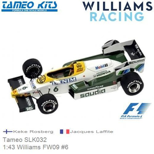 Kit 1:43 Williams FW09 #6 | Keke Rosberg (Tameo SLK032)