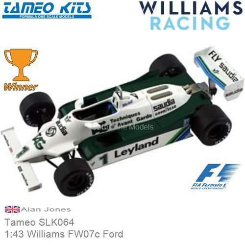 Bouwpakket 1:43 Williams FW07c Ford | Alan Jones (Tameo SLK064)