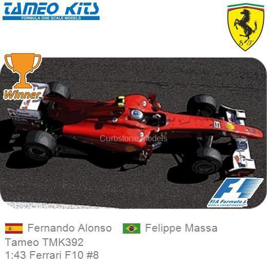 Bausatz 1 43 Tameo Tmk392 Ferrari F10 8