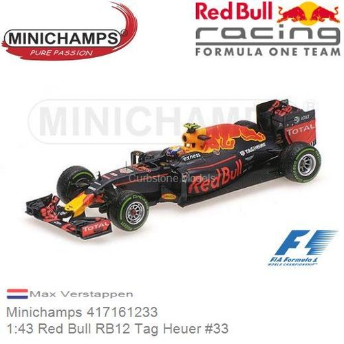 Modellauto 1:43 Red Bull RB12 Tag Heuer #33 | Max Verstappen (Minichamps 417161233)