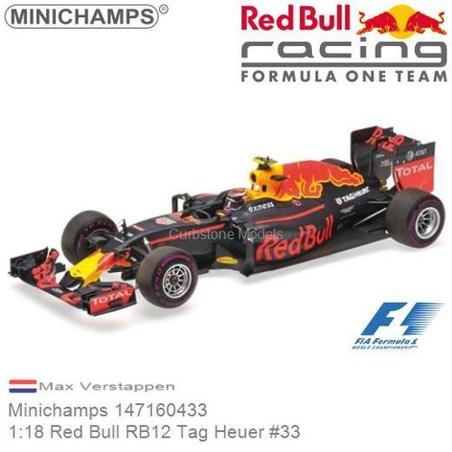 Modellauto 1:18 Red Bull RB12 Tag Heuer #33 | Max Verstappen (Minichamps 147160433)