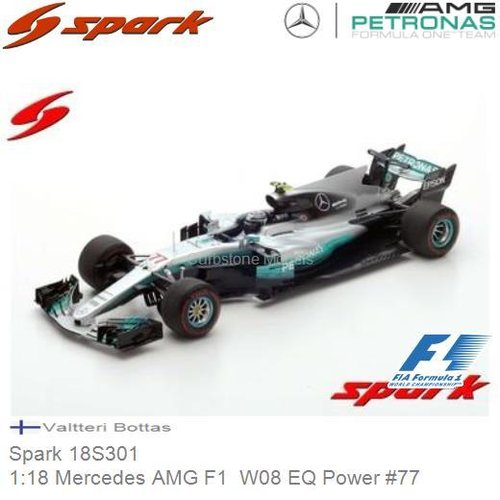 Modelauto 1:18 Mercedes AMG F1  W08 EQ Power #77 | Valtteri Bottas (Spark 18S301)