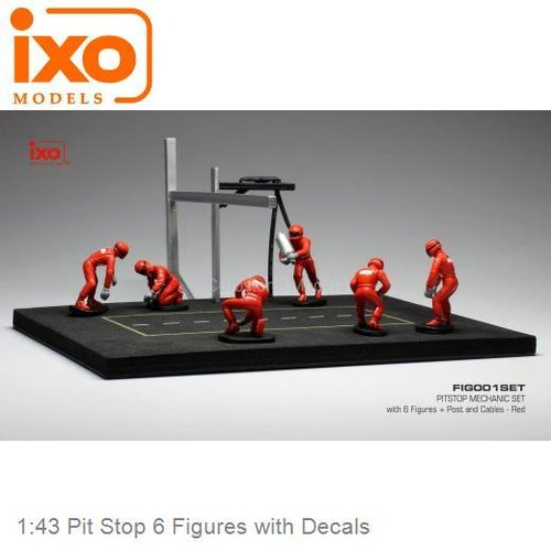 Modelauto 1:43 Pit Stop 6 Figures with Decals (IXO-Models IXOFIG001SET)