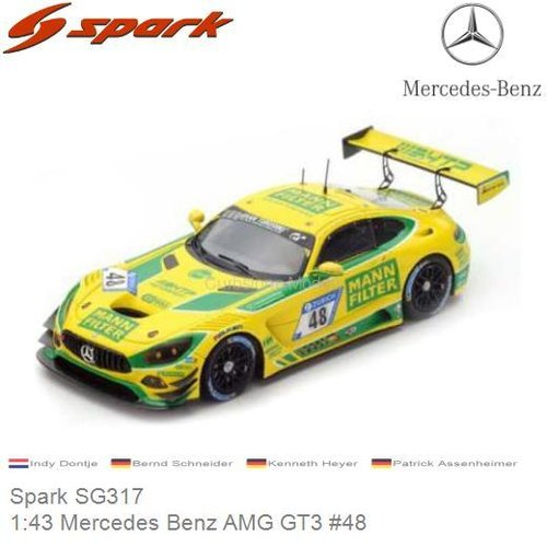 Modelauto 1:43 Mercedes Benz AMG GT3 #48 | Indy Dontje (Spark SG317)