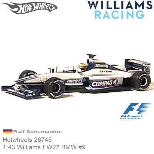 Modellauto 1:43 Williams FW22 BMW #9 | Ralf Schumacher (Hotwheels 26746)
