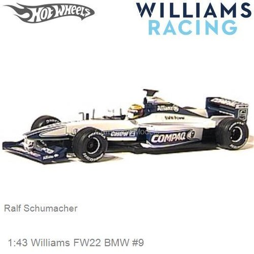Modelauto 1:43 Williams FW22 BMW #9 | Ralf Schumacher (Hotwheels 26746)