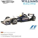 Modellauto 1:18 Williams FW23 BMW #5 | Ralf Schumacher (Hotwheels 50200)