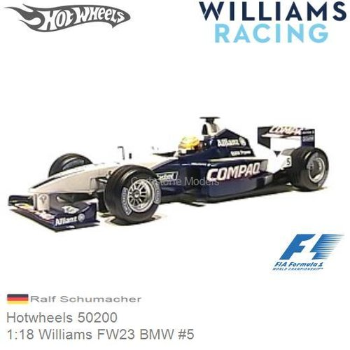 Modelauto 1:18 Williams FW23 BMW #5 | Ralf Schumacher (Hotwheels 50200)