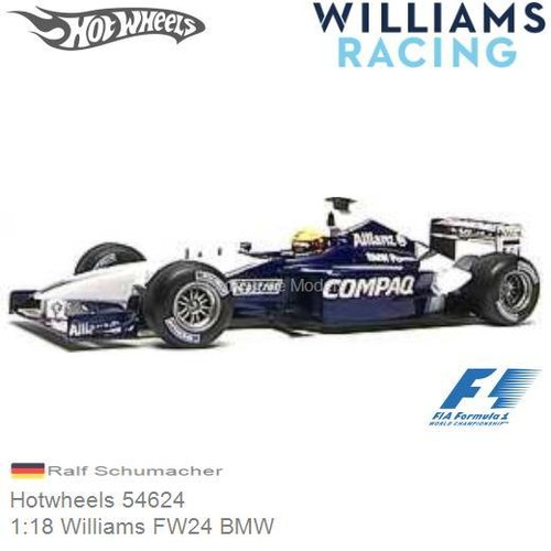 Modelauto 1:18 Williams FW24 BMW | Ralf Schumacher (Hotwheels 54624)