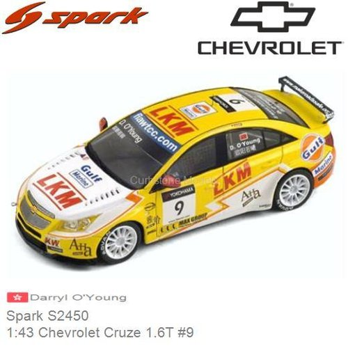 Modellauto 1:43 Chevrolet Cruze 1.6T #9 | Darryl O'Young (Spark S2450)