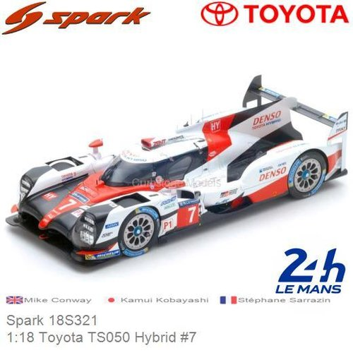 Modelauto 1:18 Toyota TS050 Hybrid #7 | Mike Conway (Spark 18S321)