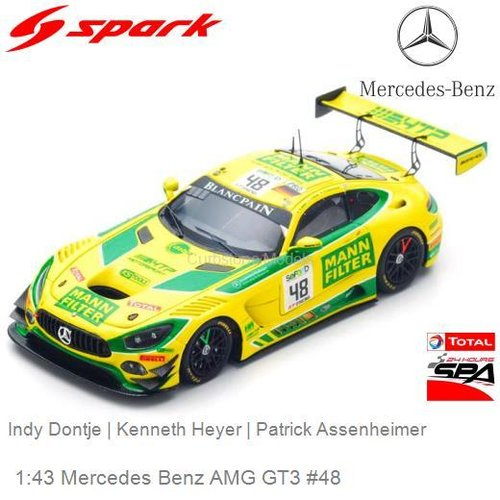 Modelauto 1:43 Mercedes Benz AMG GT3 #48 | Indy Dontje (Spark SB164)