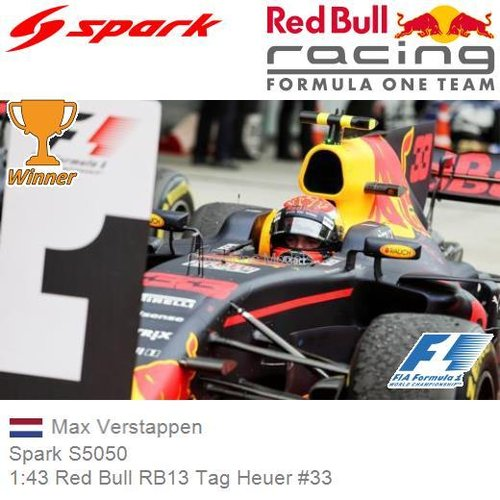 Modellauto 1:43 Red Bull RB13 Tag Heuer #33 | Max Verstappen (Spark S5050)