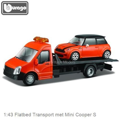 1:43 Flatbed Transport met Mini Cooper S (Bburago 18-34100-6)