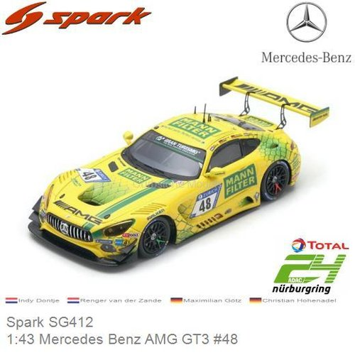 Modelauto 1:43 Mercedes Benz AMG GT3 #48 | Indy Dontje (Spark SG412)