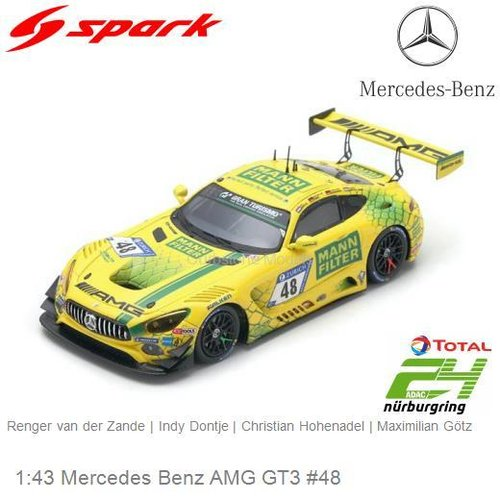 Modellauto 1:43 Mercedes Benz AMG GT3 #48 | Indy Dontje (Spark SG412)