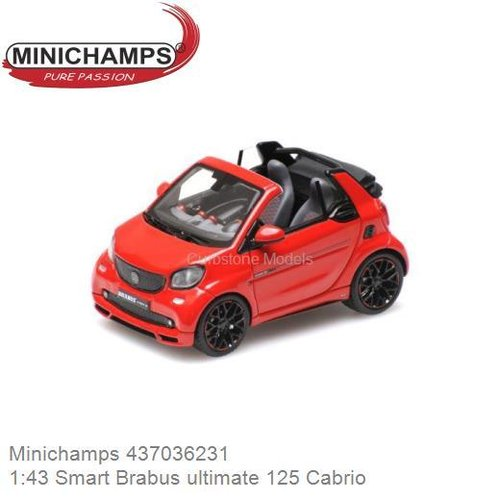Modelauto 1:43 Smart Brabus ultimate 125 Cabrio (Minichamps 437036231)