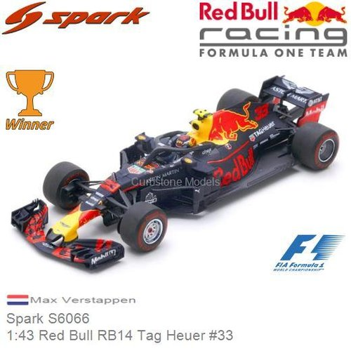 Modellauto 1:43 Red Bull RB14 Tag Heuer #33 | Max Verstappen (Spark S6066)