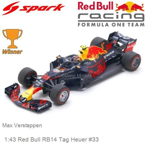 Modelcar 1:43 Red Bull RB14 Tag Heuer #33 | Max Verstappen (Spark S6066)