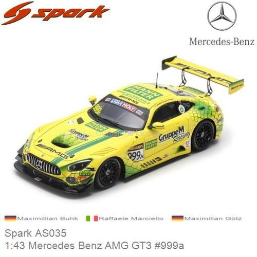 Modelauto 1:43 Mercedes Benz AMG GT3 #999a | Maximillian Buhk (Spark AS035)