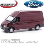 Modelauto 1:43 Ford Transit Box Delivery van High Roof (Minichamps 430089300)