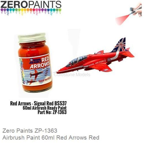 Airbrush Paint 60ml Red Arrows Red (Zero Paints ZP-1363)