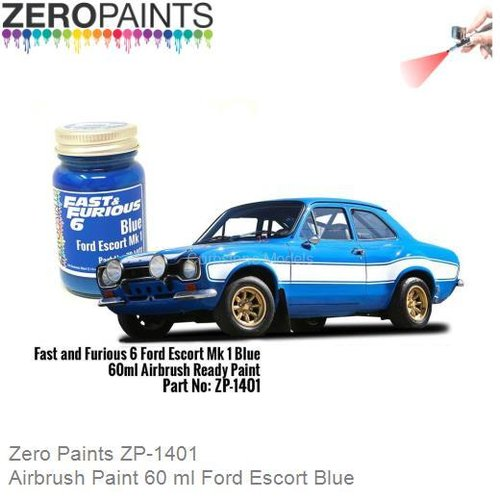 Airbrush Paint 60 ml Ford Escort Blue (Zero Paints ZP-1401)