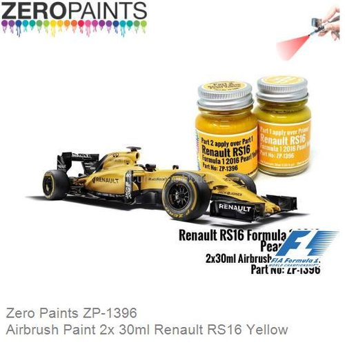 Airbrush Paint 2x 30ml Renault RS16 Yellow (Zero Paints ZP-1396)