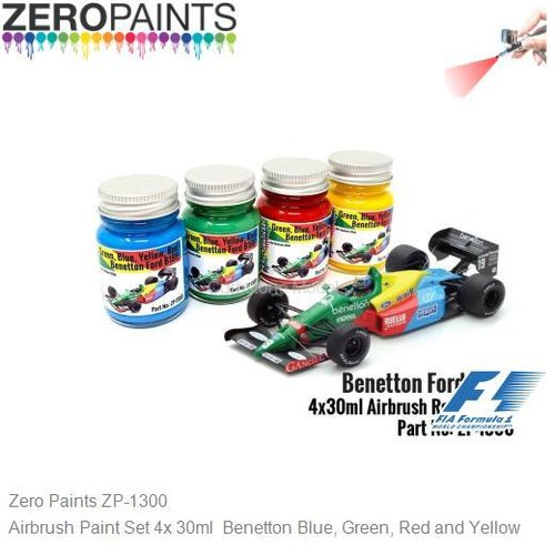 Airbrush Paint Set 4x 30ml  Benetton Blue, Green, Red and Yellow (Zero Paints ZP-1300)