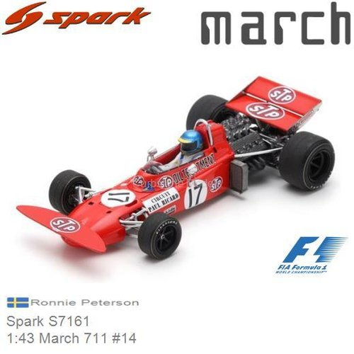 Modelauto 1:43 March 711 #14 | Ronnie Peterson (Spark S7161)