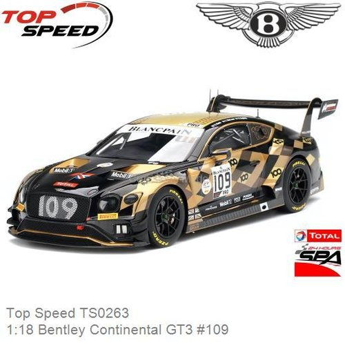 Modelauto 1:18 Bentley Continental GT3 #109 |  Rodrigo Baptista (Top Speed TS0263)