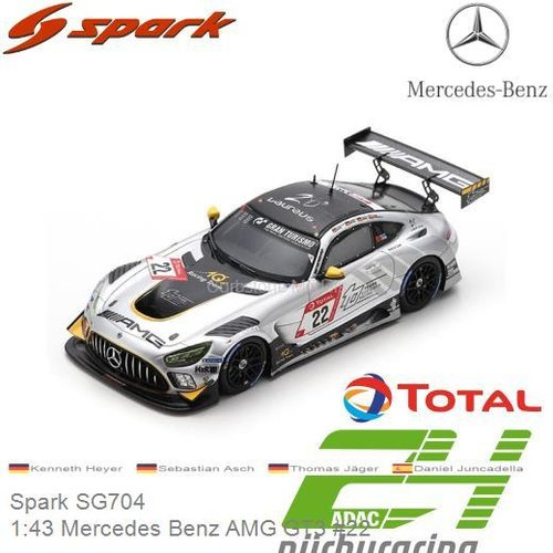 Modelauto 1:43 Mercedes Benz AMG GT3 #22 | Kenneth Heyer (Spark SG704)